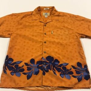 COCONUT PIER Mens Medium Orange Casual Shirt